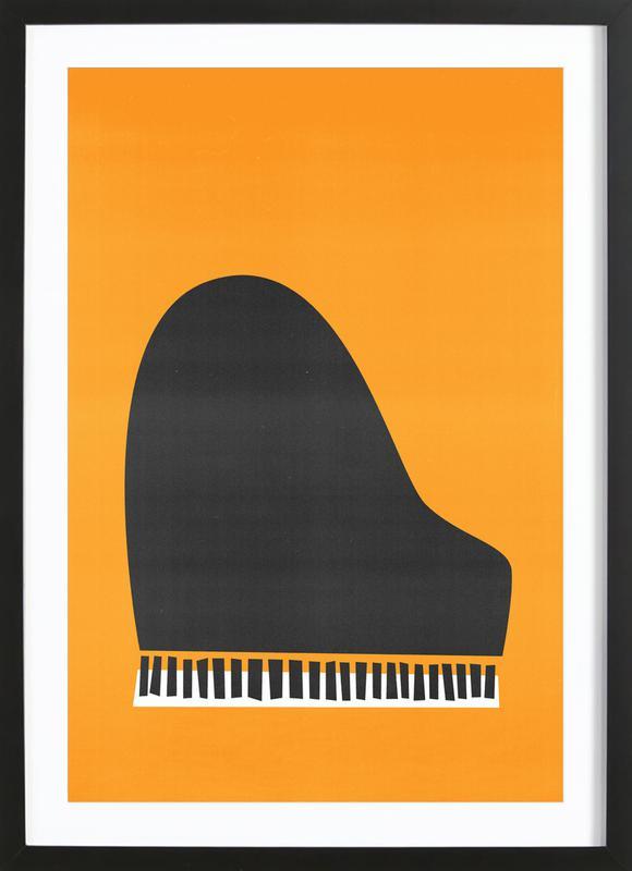 Grand Piano affiche sous cadre en bois