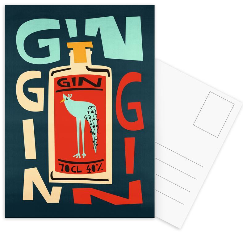 Cocktails, Gin Gin Gin Postcard Set