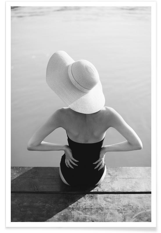 Black & White, Fashion Photography, Beach Girl Poster
