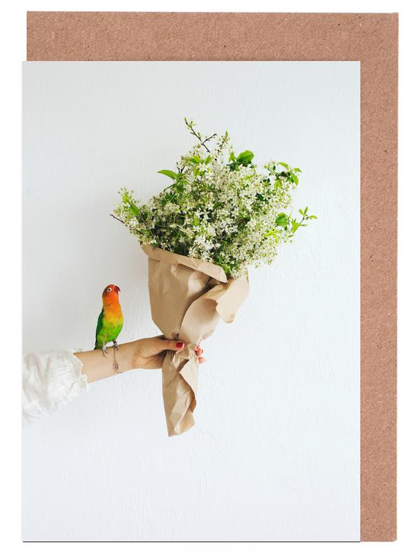 Parrot And A Girl Greeting Card Set