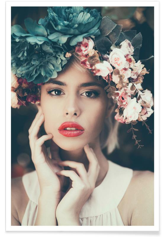 Dreamy, Portraits, Floral Girl Poster