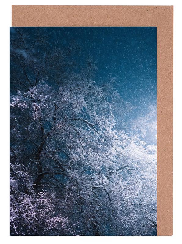 Bäume, Winter Night -Grußkarten-Set