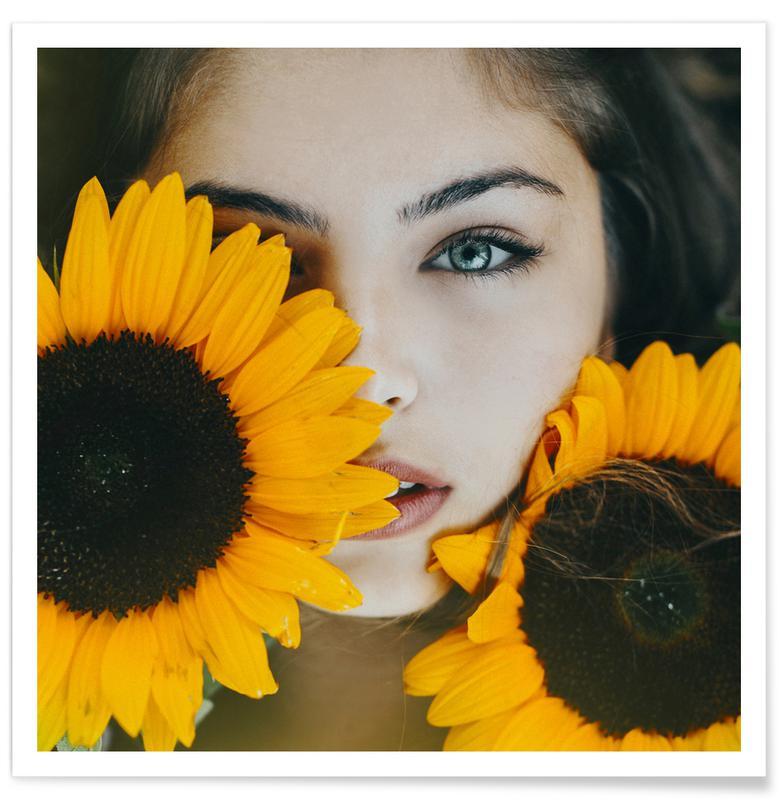 Tournesols, Portraits, Rêve, Sunflower Girl affiche