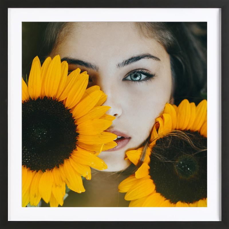 Sunflower Girl Framed Print