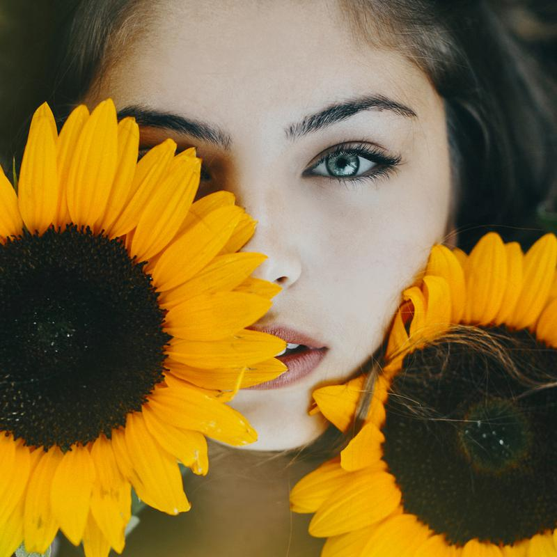 Sunflower Girl Acrylic Print
