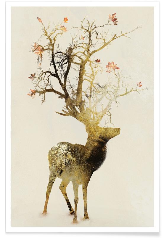 Deer, Autumn Poster