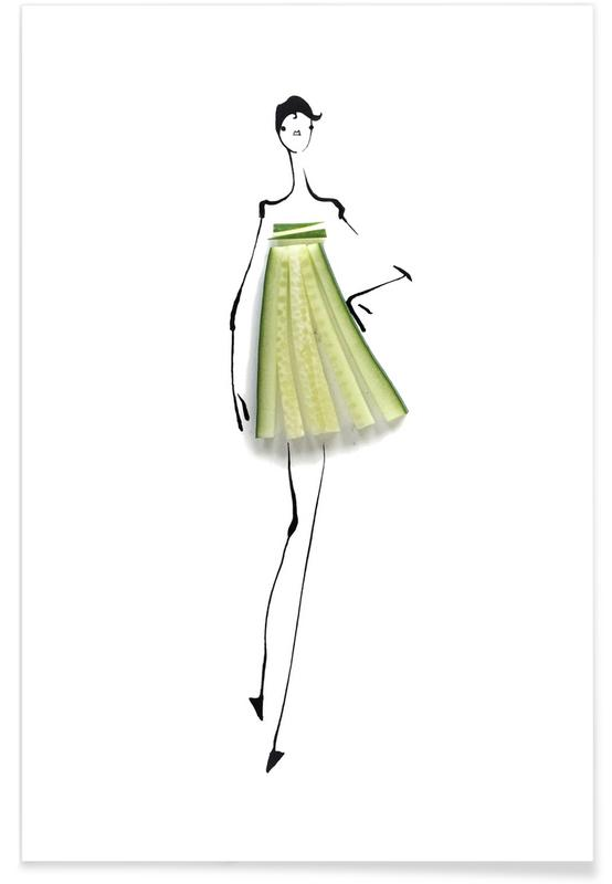 Agurker, Cucumber Fashion Sketch Plakat