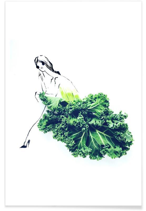 , Kale Fashion Sketch Poster