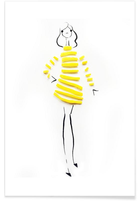 Citroner, Lemon Fashion Sketch Plakat
