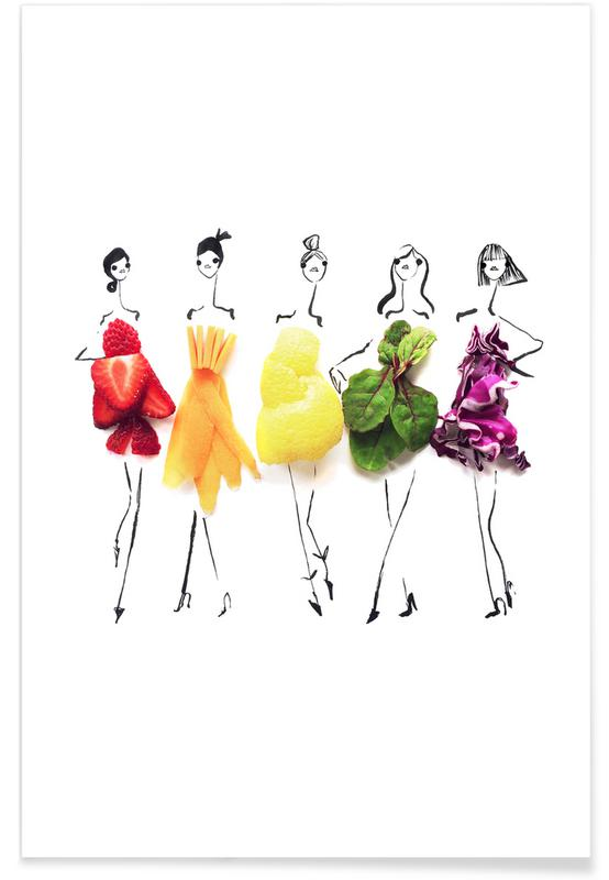 , Rainbow Fashion Sketch Plakat