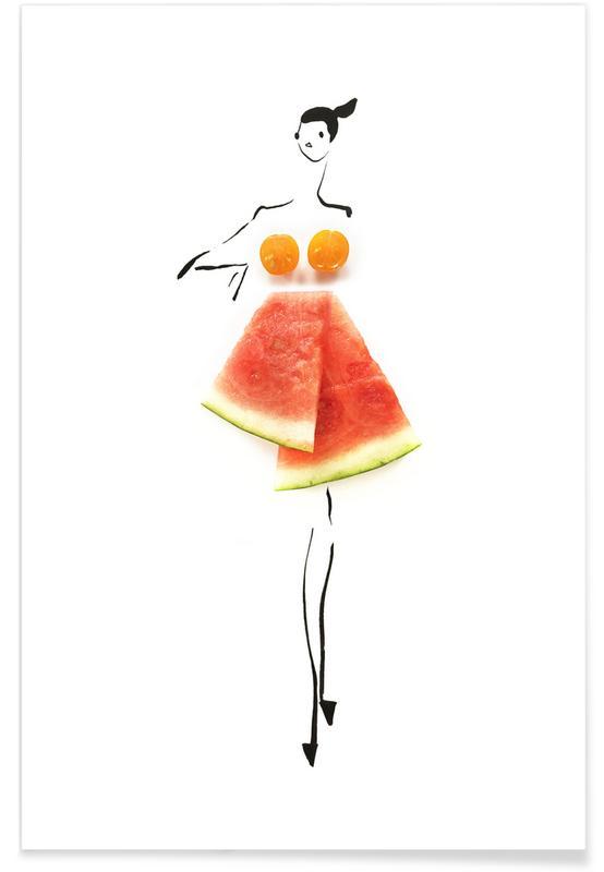 Watermelons, Tomato Melon Fashion Sketch Poster