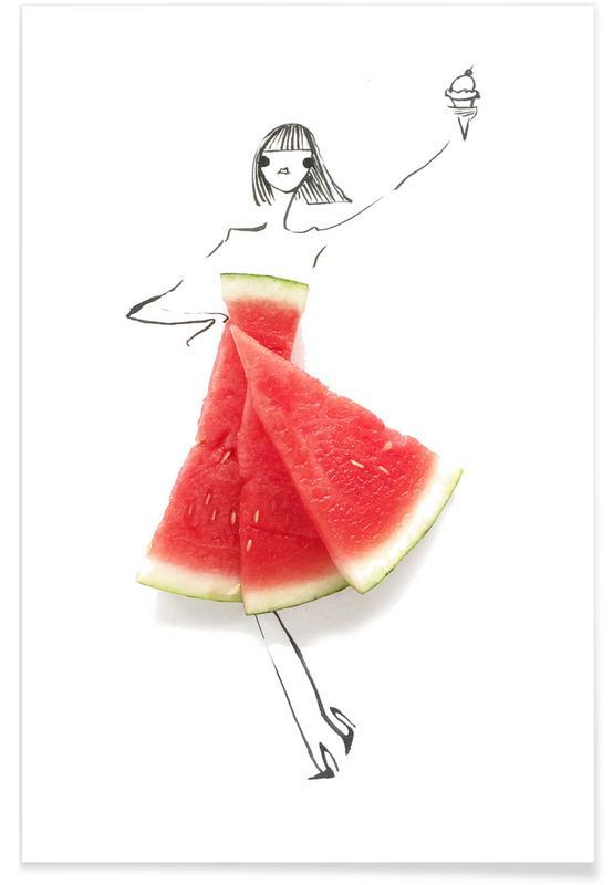 Watermelons, Watermelon Fashion Sketch Poster