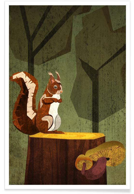 Kinderzimmer & Kunst für Kinder, Eichhörnchen -Poster