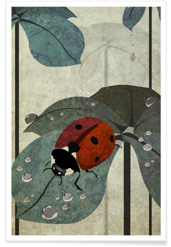 Coccinelles, Art pour enfants, Marienkäfer affiche