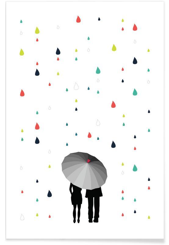 Couples, Rainy Days - Come Under My Umbrella - Col Poster