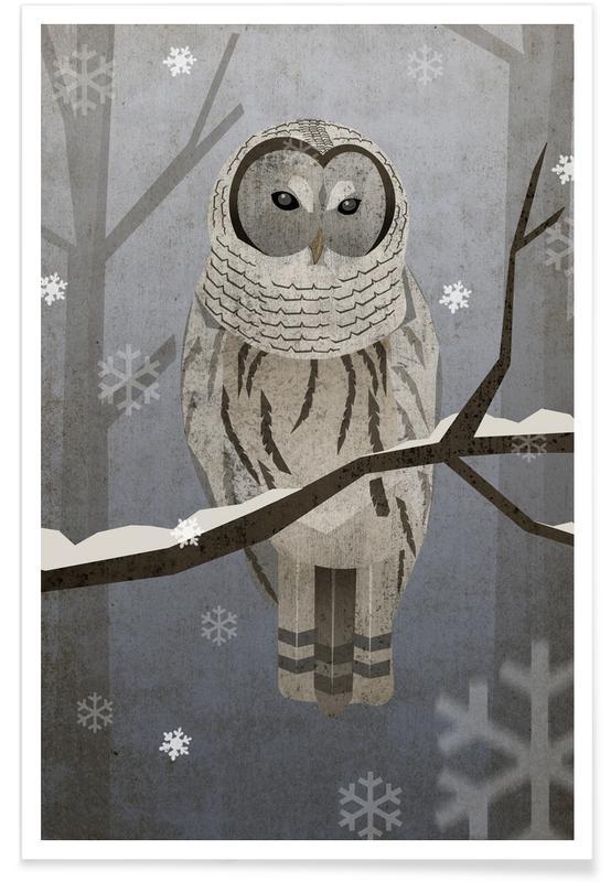Kinderzimmer & Kunst für Kinder, Eulen, Schnee-Eule -Poster