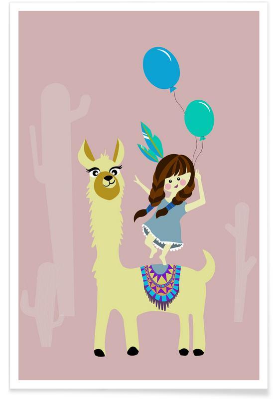 Kinderzimmer & Kunst für Kinder, Alpaka 3 -Poster