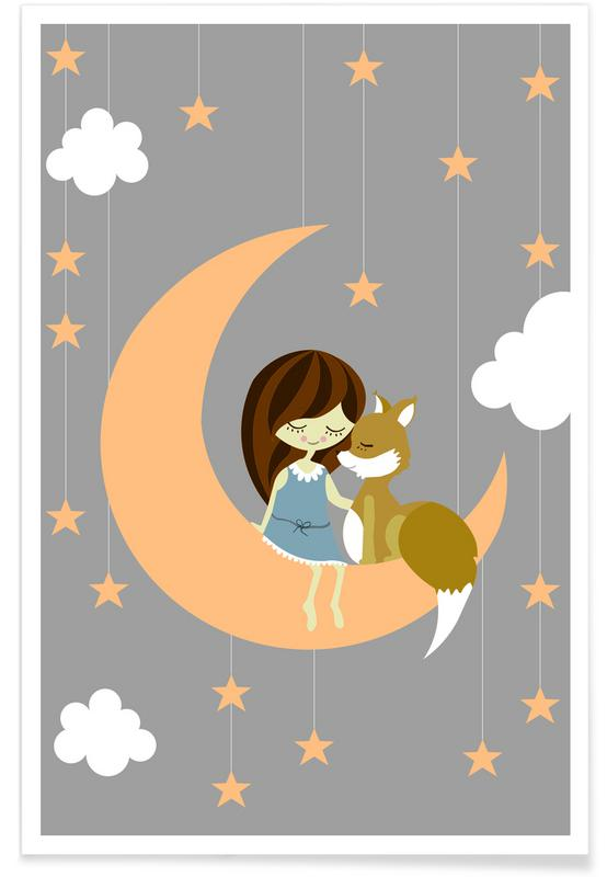 Füchse, Kinderzimmer & Kunst für Kinder, Foxy Moon -Poster