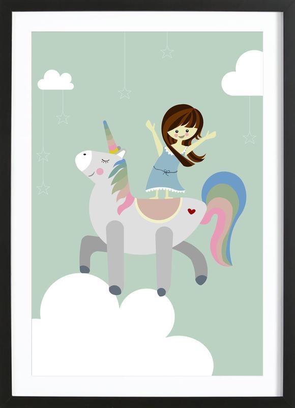 Unicorn affiche sous cadre en bois