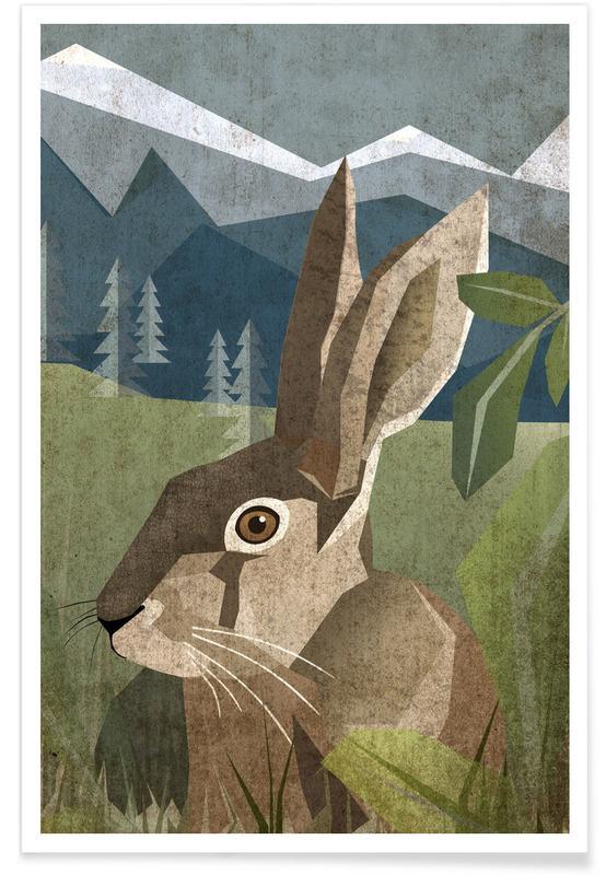 Kinderzimmer & Kunst für Kinder, Kaninchen, Hase -Poster