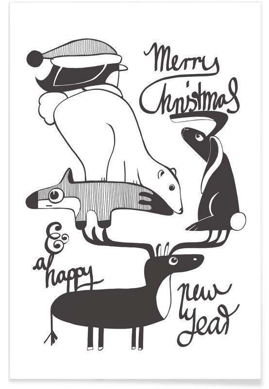 Schwarz & Weiß, Weihnachten, Pyramide -Poster