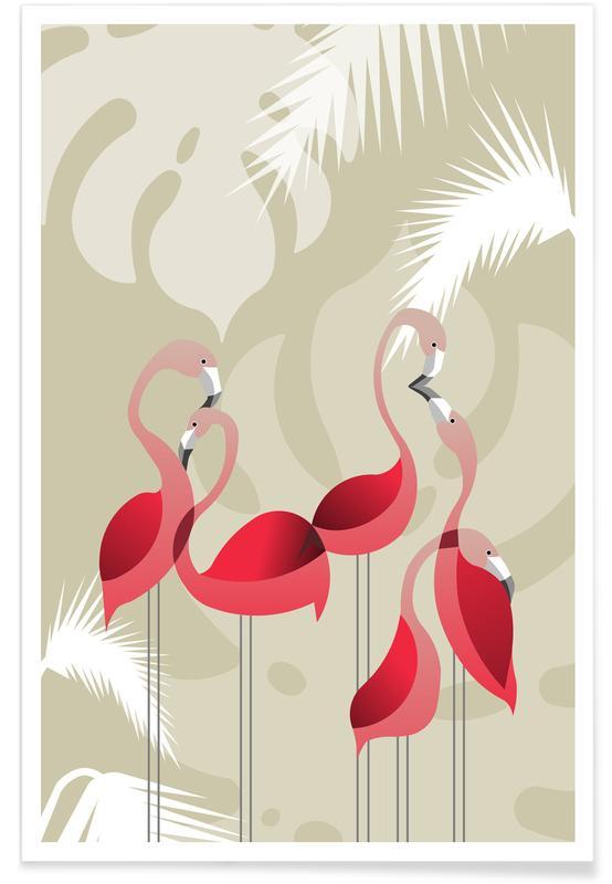 Kinderzimmer & Kunst für Kinder, Flamingos, Flamingo -Poster