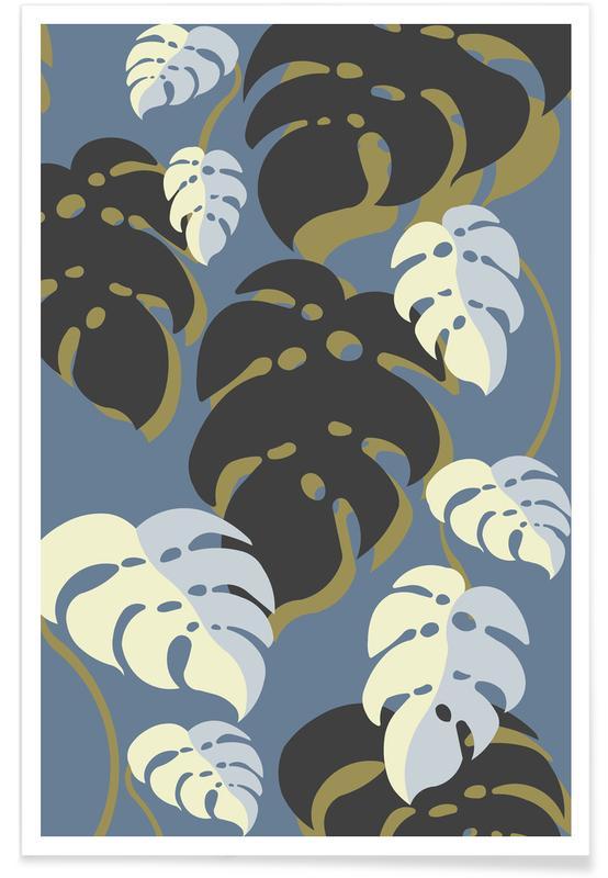Blätter & Pflanzen, Monstera Blue -Poster