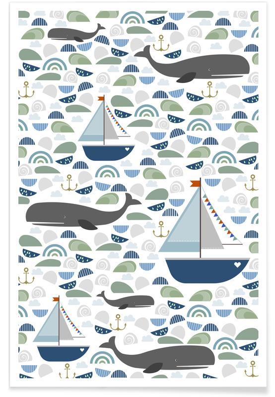 Kinderzimmer & Kunst für Kinder, Wale, Whale -Poster