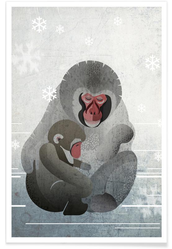 Monkeys, Nursery & Art for Kids, Makaken Poster