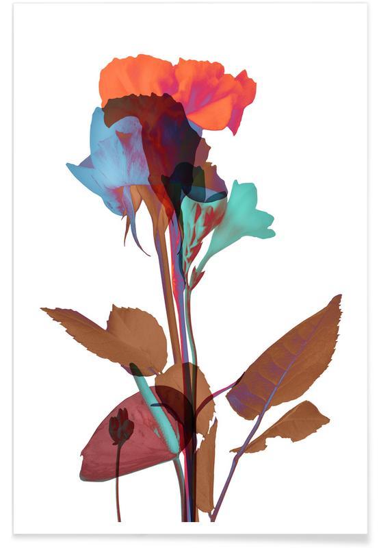 , Ode aux Fleurs (Orange-Blue-Mint) poster