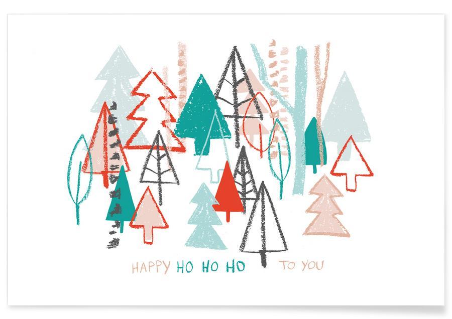 Kerst, Happy Ho Ho Ho to You - Trees poster