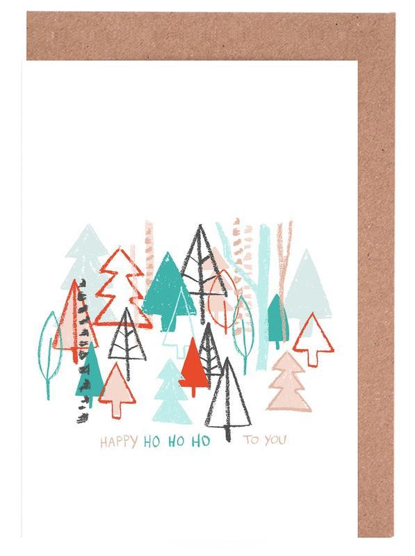 Happy Ho Ho Ho to You - Trees -Grußkarten-Set