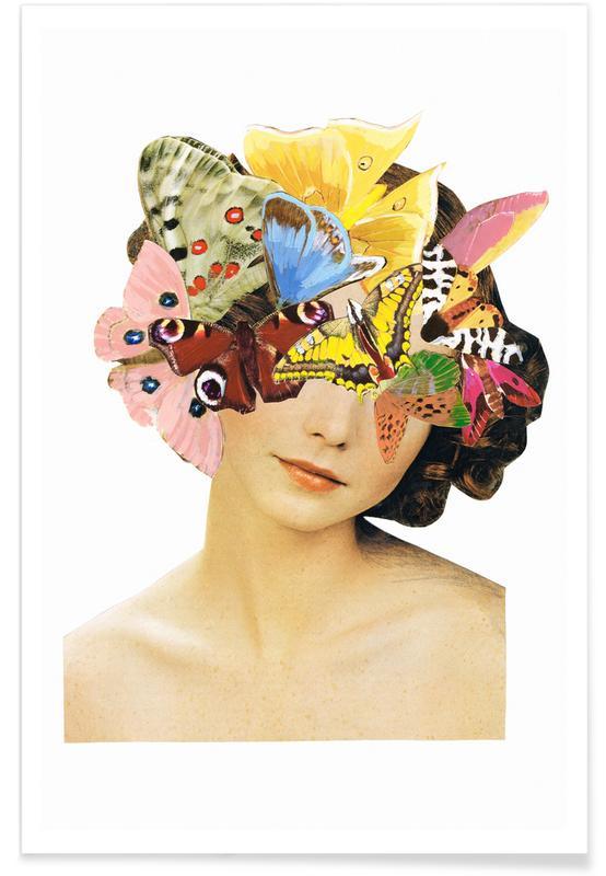 Butterflies, Birthdays, Dreamy, Portraits, Het recht mooi te zijn - Butterflyhead Poster