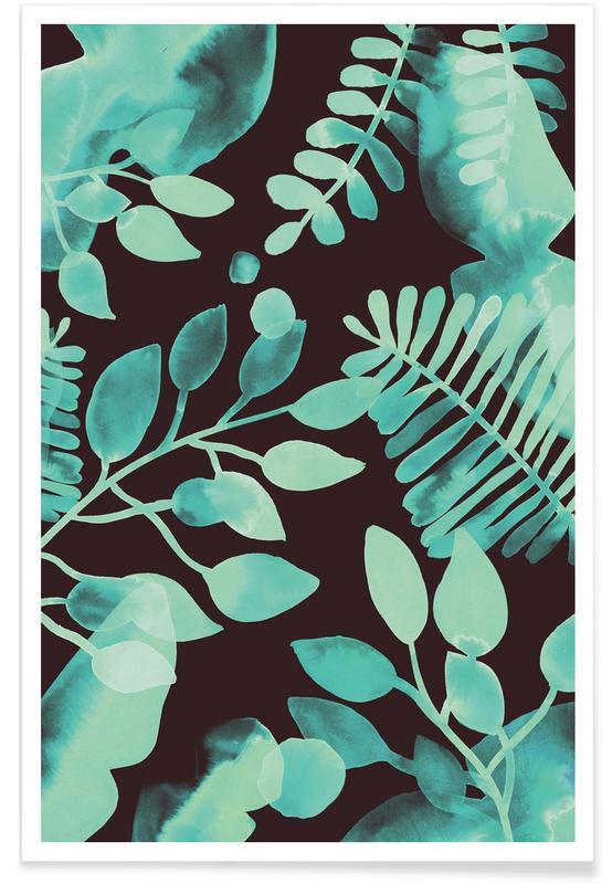 Bladeren en planten, Patronen, Leaves - Green poster