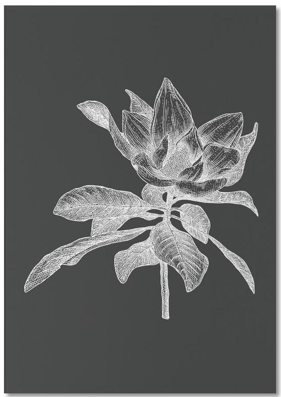 Noir & blanc, Rétro, Magnolia - White on Grey bloc-notes