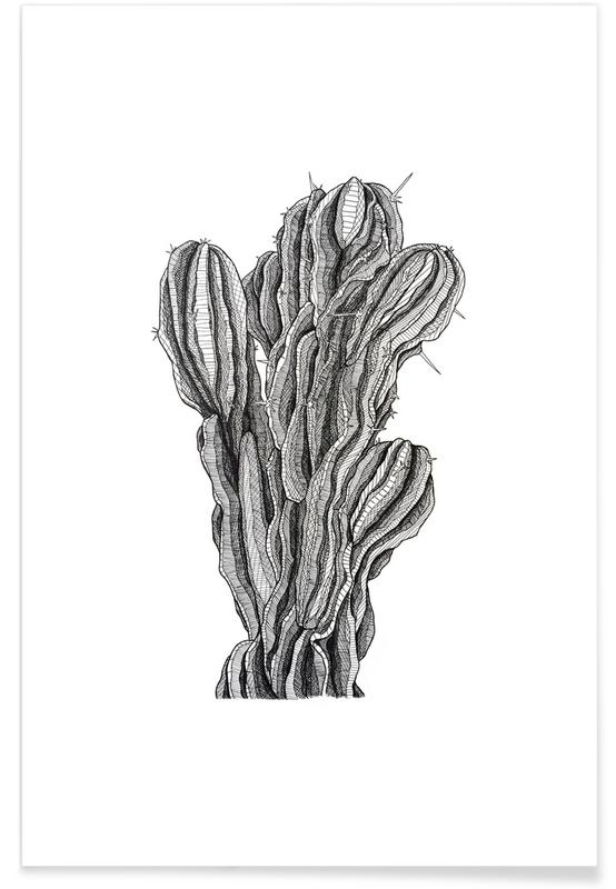 Schwarz & Weiß, Retro, Kaktus, Strauchkaktus-Bleistiftskizze -Poster