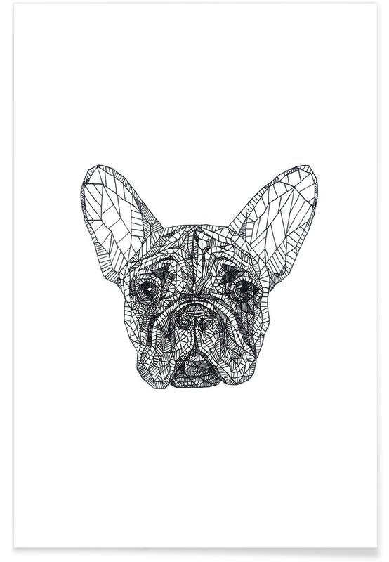 Hunde, Schwarz & Weiß, Frenchie-Bleistiftskizze -Poster