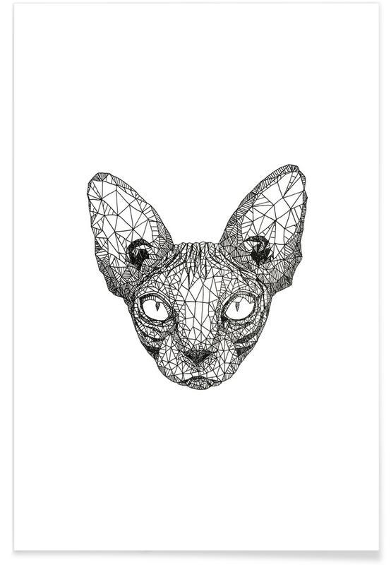 Chats, Noir & blanc, Chat sphynx - Croquis au crayon affiche