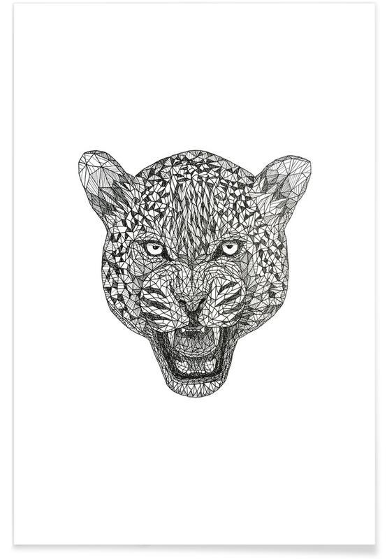 Noir & blanc, Jaguars, Jaguar - Croquis au crayon affiche