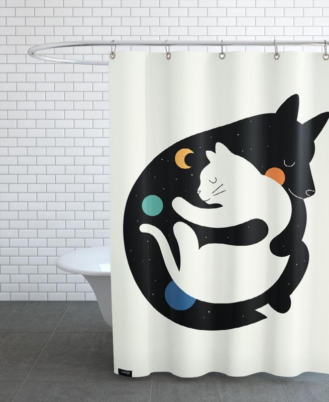 Kinderzimmer & Kunst für Kinder, Katzen, Hunde, More Hugs Less Fights -Duschvorhang
