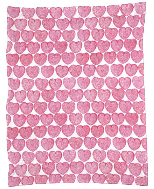 Pink Hearts Fleece Blanket