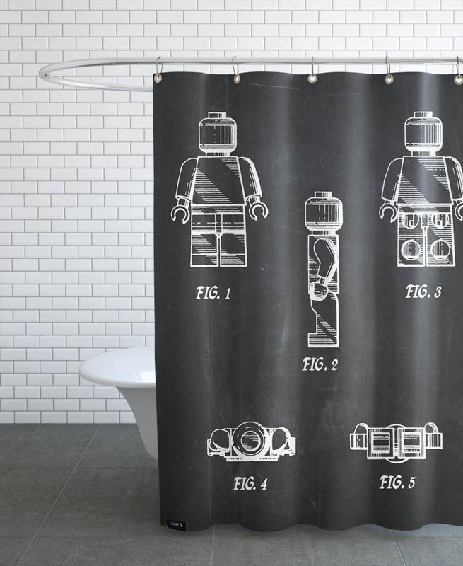 Schwarz & Weiß, Kinderzimmer & Kunst für Kinder, Toy Man -Duschvorhang