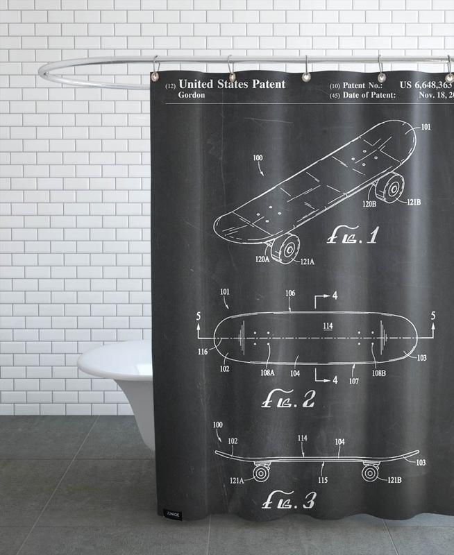 Schwarz & Weiß, Skating, Skateboard -Duschvorhang