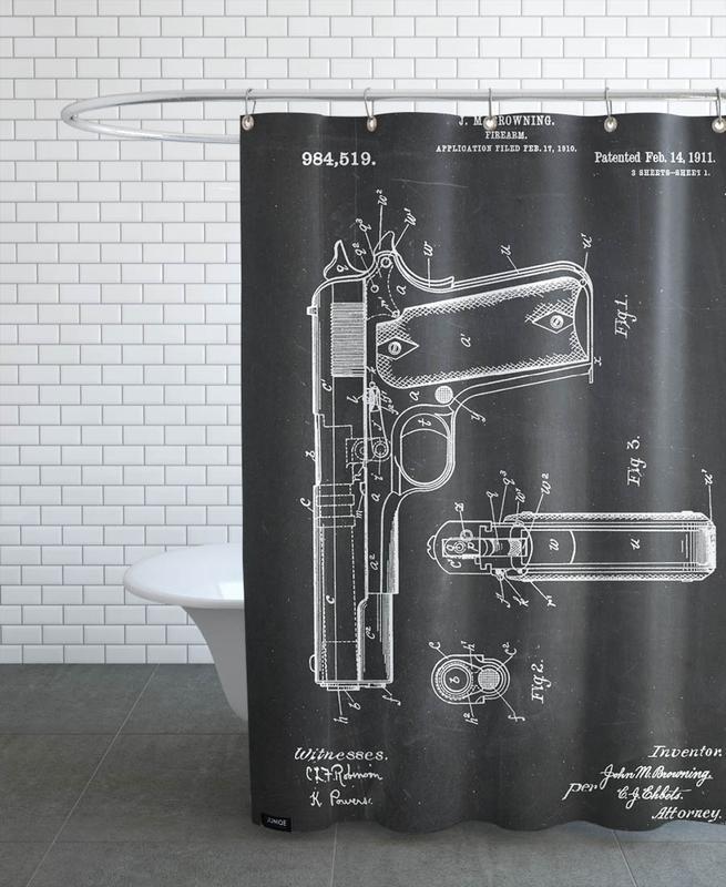 Retro, Schwarz & Weiß, Gun 4 Pack -Duschvorhang