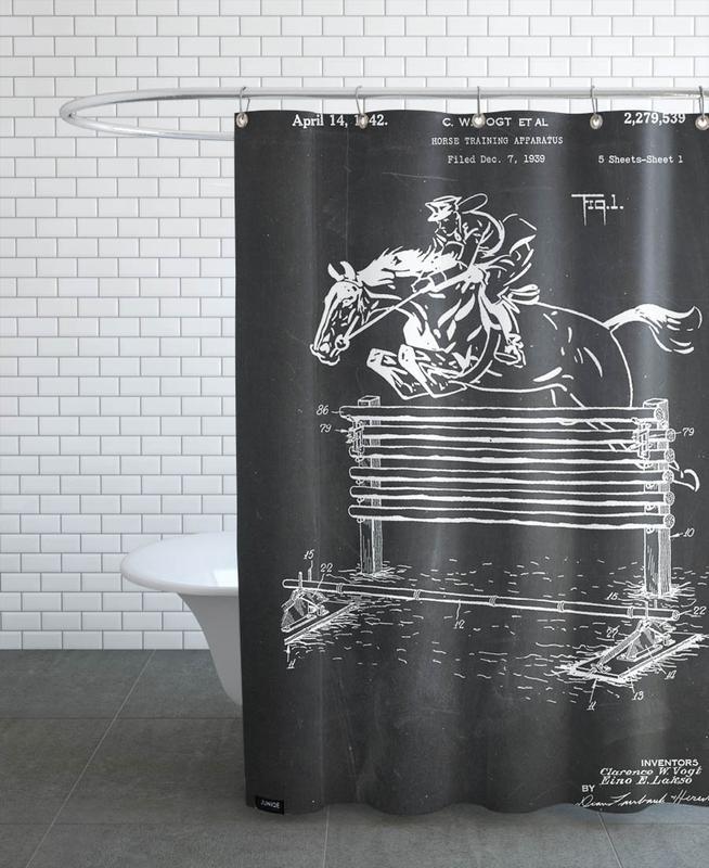 Pferde, Schwarz & Weiß, Horse Jump -Duschvorhang