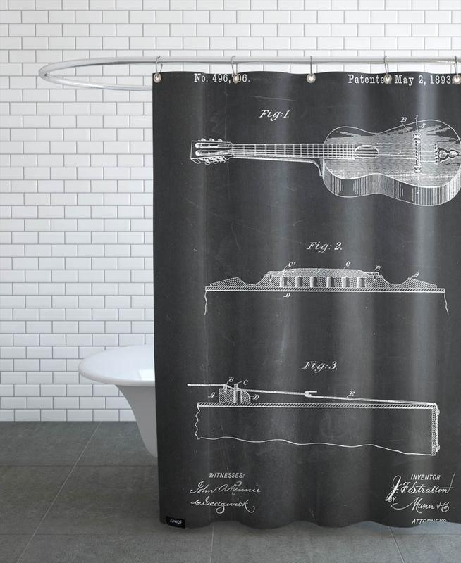 Schwarz & Weiß, Gitarre, Acoustic Guitar -Duschvorhang