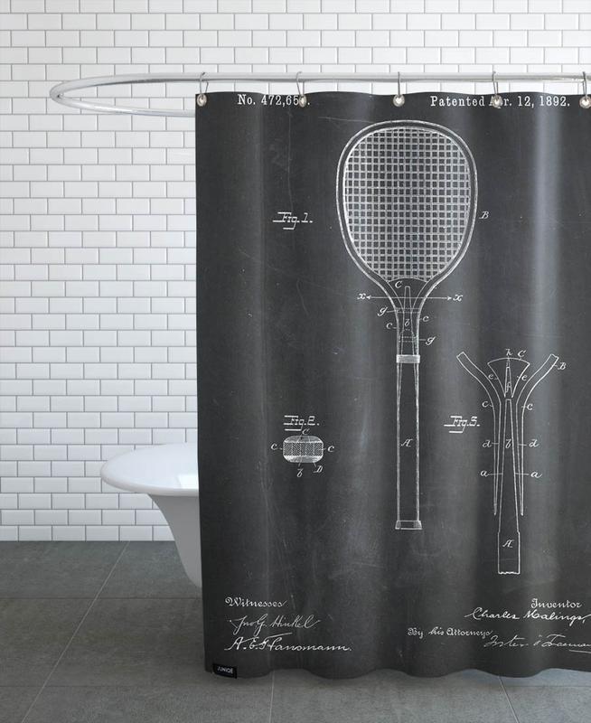 Tennis, Schwarz & Weiß, Tennis Racket -Duschvorhang