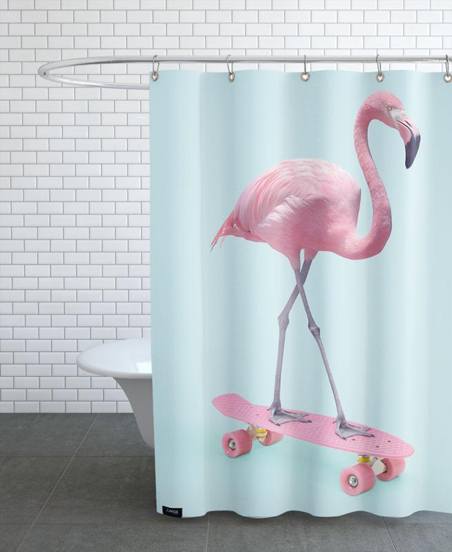 Kinderzimmer & Kunst für Kinder, Lustig, Pop Art, Flamingos, Skate Flamingo -Duschvorhang