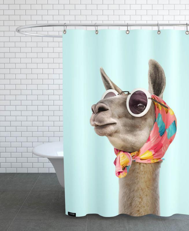 Lama, Kinderzimmer & Kunst für Kinder, Fashion Llama -Duschvorhang