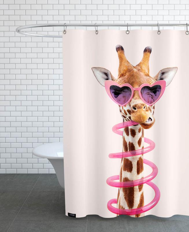 Thirsty Giraffe Shower Curtain